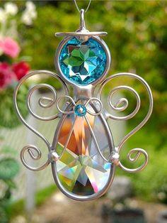 Turquoise Crystal Prism Angel Suncatcher (by JasGlassArt)