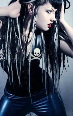 #Goth girl with corset and a little sneer