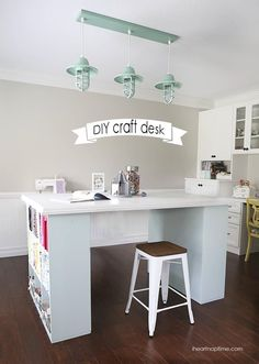 craft room lighting. diy craft room desk fabric lighting