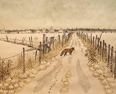 Fox in winter -- petitpoulailler:  hicockalorum:Sören Holmqvist(Swedish, contemporary)