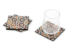 Nice color!  S/4 Patterned Coasters, Multi on OneKingsLane.com.  Four is never enough.  You could put some away and only take them out when guests are coming.