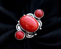 Beautiful Simulated Coral Ring Size 8. Starting at $1
