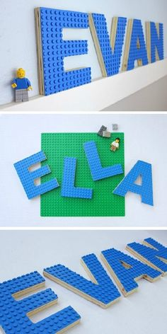 Lego Letter// High // Ariel Bold Font // Baltic Birch Wood // Blue, Green and Grey Lego Build Plate LEGO Letter Art — This is such an awesome LEGO decorating idea! It can be hung on the wall or used as an actual LEGO base plate for building. Legos, Lego Room Decor, Lego Letters, Lego Decorations, Deco Kids, Lego Base Plates, Lego Projects, Bedroom Themes, Geek Decor