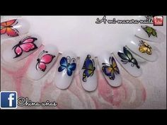 Easy one stroke butterfly nail art tutorial Manicure At Home, Gel Manicure, Trendy Nail Art, Cool Nail Art, Love Nails, Fun Nails, Nagellack Design, Josi, Diy Ombre