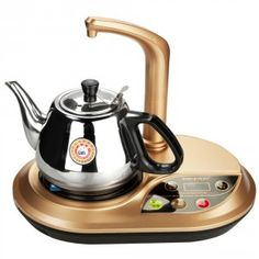 Chinese style kettle with, electric hot plate, refillable water faucet and variable temperature control.