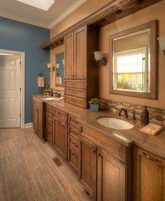 Rustic master bathroom design with double vanity in Riverwoods, IL
