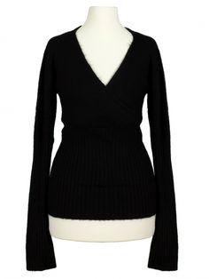 Damen Pullover Wickeloptik, schwarz von Spaziodonna bei www.meinkleidchen.de