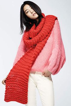Blushberry Pullover - anthropologie. bubblegum pink knit sweater, oversized candy red knit sweater. winter white jeans.