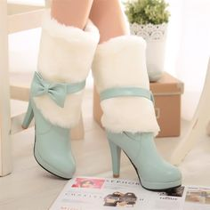 plush Soles: rubber Color: beige, pink, blue Size: 34 35 36 37 38 39 40 41 42 Heel Height: 10 cm Platform Height: 2 cm Shaft Height: 31 cm Size Guide: Euro/CN 34 = US 3 = (Foot Euro/CN 35 = US 4 = White High Heel Boots, Lace Ankle Boots, Mid Calf Boots, High Boots, Cute Boots, Sexy Boots, Winter Fashion Boots, Winter Boots, Warm Boots