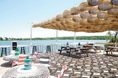 Surf Lodge, sunlight coming through the basket-lamps produce shadow designs in the daytime Outdoor Restaurant Patio, Cafe Restaurant, Restaurant Design, Lakeside Restaurant, Outdoor Cafe, Pool Bar, Surf Lodge Montauk, Beach Cafe, Rooftop Bar