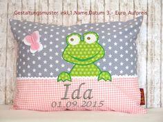 """Namenskissen - Namenskissen """" Frosch """" Das Original! inkl.1.Name - ein Designerstück von Julies-Place bei DaWanda"""