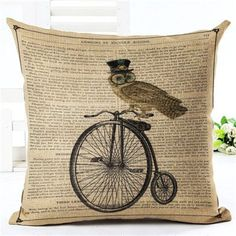 New Arrival Throw Pillow Cushion Home Decor Couch Newspaper With Owl Printed Linen Cuscino Square Cojines Almohadas Farmhouse Decorative Pillows, Rustic Decorative Pillows, Decorative Pillow Cases, Teal Cushions, Gold Pillows, Living Room Decor Pillows, Living Rooms, Pillow Inspiration, Turquoise