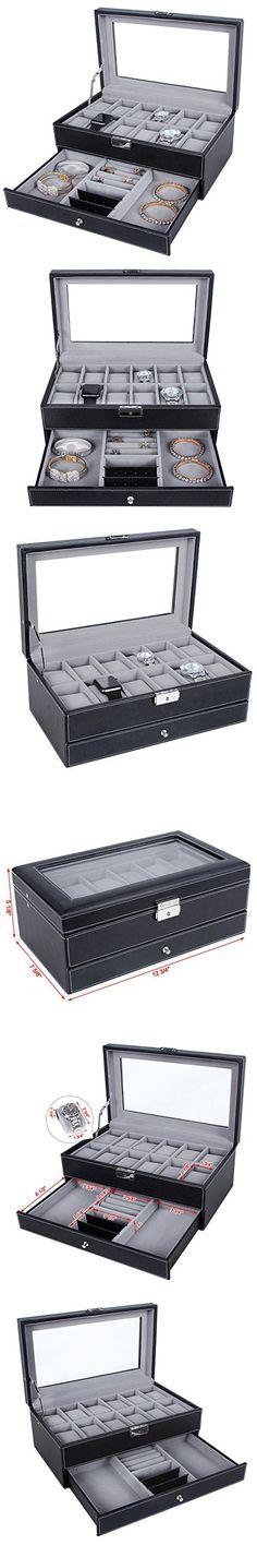 SONGMICS 20 Mens Watch Box Case Glass Top Black Display Organizer