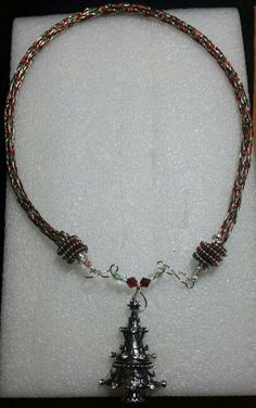 Christmas colors red, silver, and green viking knit necklace with Christmas tree pendant