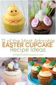 Here are 12 of the most adorable Easter cupcake recipe ideas! Make these cute and delicious treats for your Easter celebration. treats cupcakes 12 of the Most Adorable Easter Cupcake Recipes Ideas Easy Cheesecake Recipes, Easy Cookie Recipes, Easter Recipes, Cupcake Recipes, Cupcake Cakes, Dessert Recipes, Food Cakes, Oster Cupcakes, Easter Treats