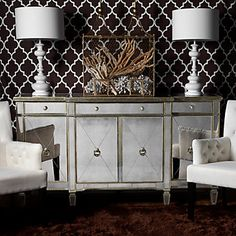 Love the handworked antique mirrored glass with champagne gilt wood trim of our Borghese Mirrored Buffet. $1,199.00