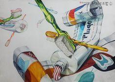 [기초디자인] 주제-치약, 칫솔 브레인스톰 안산입시미술학원 www.facebook.com/ansanbrainstorm/ blog.naver.com/yjkimlee7374 Anime Comics, Illusions, Perspective, Composition, Sketch, Drawings, Illustration, Summer, Blog