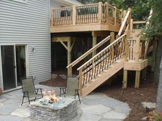 Porch Stairs With Landing deck stairs steps hgtv Source: website building deck stairs landing design ideas Source: website suggestion. Stairs Landing Design, Home Stairs Design, Stair Landing, Deck Stair Railing, Porch Stairs, House Stairs, Steel Railing, Patio Steps, Outdoor Steps