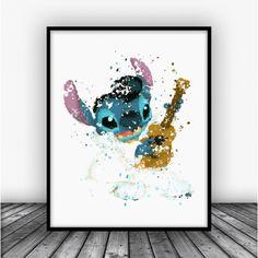 Elvis Stitch Disney Watercolor Art Print Poster. Disney Print For Home Decoration, Nursery and Kids Room Decor.