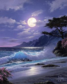 Beautiful moon over the waves Fantasy Landscape, Landscape Art, Pictures To Paint, Nature Pictures, Landscape Pictures, Shoot The Moon, Ocean Scenes, Beautiful Moon, Beautiful Images