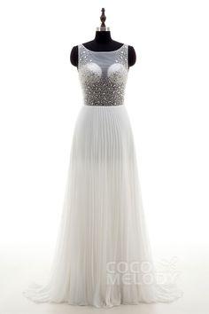 Chic Sheath-Column Illusion Natural Sweep-Brush Train Chiffon Ivory Sleeveless Open Back Wedding Dress Crystal Pleating LD4052#cocomeldoy#weddingdresses#bridalgowns#