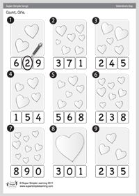 Valentine's Day Activity Sheet - Counting