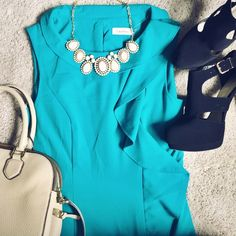 HP x2 NWT Calvin Klein Turquoise Dress perfect condition, NWT!!! make me offers! Calvin Klein Dresses