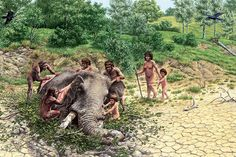 A group of Homo heidelbergensis butchers with flints the carcass of an elephant in the area known today as the Polledrara of Cecanibbio, 20 kilometers from the center of Rome. Illustration by Stefano Maugeri and Graziano Ottaviani