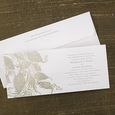 This shimmery weddinginvitation has golden swirls branching off of leaves. Wedding http://foreverfriends.carlsoncraft.com