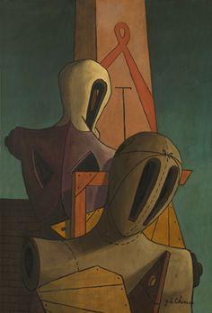 Giorgio de Chirico, ca. Italian Painters, Italian Artist, Art Picasso, Magritte, Traditional Paintings, Fantastic Art, Surreal Art, Figure Painting, Mannequins