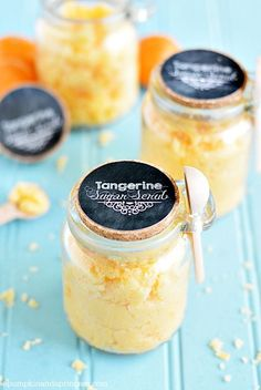 Make: Coconut Tangerine Sugar Scrub, DIY with Printable Tags for lovely gifts. (I would make these for shower favors or friend's gift baskets!)
