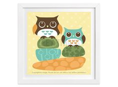 5 Owl Wall Art  Bright Owls on Color Rocks Wall Art  by leearthaus