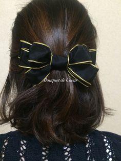 ハンドメイド ワイヤーリボンヘアゴム♡ ブラックにゴールドのアクセントがゴージャス♡  http://s.ameblo.jp/bouquet-de-coeur/  Handmade ribbon hair accessory! Black and gold gorgeous ribbon