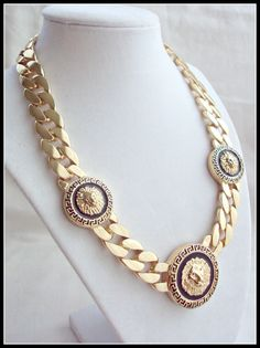 NEW Statement Gold Chain Necklace with Lion Heads Gold by 4YJD, $35.50