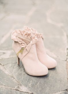 Dusty rose booties for a vintage loving bride #cedarwoodweddings Navy, Blush and Gold Inspiration :: Cedarwood Weddings+Julie Paisley | Cedarwood Weddings
