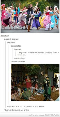 """Princess Kuzco don't kneel for nobody"" - not even Loki. Wait, so they have Marvel characters at Disney World? Kuzco Disney, Disney Pixar, Disney Jokes, Funny Disney Memes, Disney Fun, Disney And Dreamworks, Disney Magic, Funny Memes, Hilarious"
