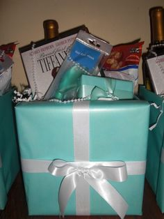 Bachelorette Party:: Breakfast at Tiffany's DVD, Bottle of white wine, bag of cracker jacks, eye mask, and box of chocolate. Tiffany Theme, Tiffany Party, Tiffany Wedding, Tiffany Blue, Wedding Shower Favors, Gifts For Wedding Party, Party Gifts, Bridal Shower, Wedding Ideas