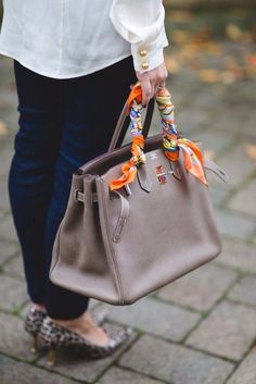 1 scarf 6 ways: bag by sweatshirts & dresses bucket bag, bags, Ways To Wear A Scarf, How To Wear Scarves, Turbans, Scarf On Bag, Hermes Bags, Hermes Birkin Bag, Purse Handles, Round Bag, Bandanas