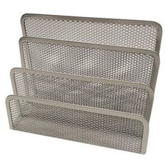 Metal Mesh Letter Holder - Silver  - I'm currently using mine to hold up an external DVD/CD drive, external hard drive, and other tech stuff, but this can be used to help keep palettes upright on the vanity as well :)