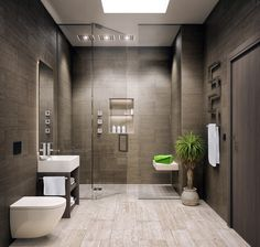 Mid-sized modern master bathroom with open cabinets and light white hardwood floors with Very nice towel rack and a light behind the mirror and frameless ...