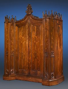 """Known as the Henry Clay Rosedown Plantation Armoire, this piece was intended for the White House  Made by Crawford Riddell, this was commissioned by the supporters of Henry Clay for U.S. President  When Clay lost, cotton tycoon Daniel Turnbull bought this for his majestic home, Rosedown Plantation  To accomodate this armoire and its accompanying bedroom suite, Turnbull built a new wing on his home  Circa 1844  91 1/4"""" wide x 32 3/4"""" deep x 112"""" high, $350,000"""