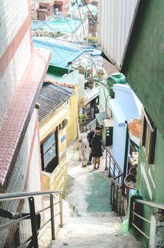 An alley of Gamcheon Culture Village, Busan, South Korea. Travel South Korea. Things to do in Korea