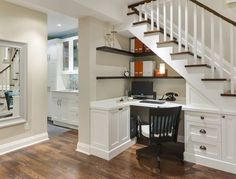 I love this idea of making use of the space under the stairs. Great for a basement.