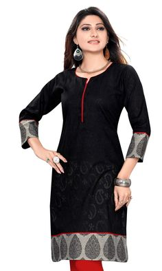 Cotton Jacquard fabric round neck 3/4th sleeves kurti with grey printed patch