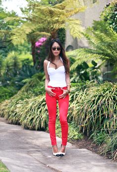 """""""Something Different"""" - Song Of Style.  I absolutely love that she paired a Norma Kamali swim suit with jeans.  #clothing #swim #fashionblogger"""