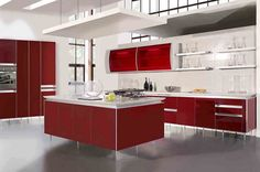 8 Wealthy Tips AND Tricks: Kitchen Remodel Green Open Shelves kitchen remodel tips projects.Affordable Kitchen Remodel Home Improvements simple kitchen remodel bar.Kitchen Remodel Tips Window. Red Kitchen Cabinets, Kitchen Cabinet Design, Modern Kitchen Design, Interior Design Kitchen, Home Design, Design Ideas, Modern Kitchens, Dark Cabinets, Modern Design