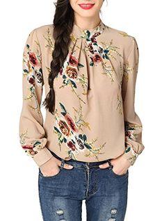 07d615d5249efe Abollria Women's Flower Print Long Sleeve Stand Collar Casual Chiffon  Blouse Shirt Tops#deals #