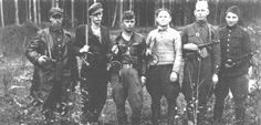 A group of Jewish partisans in the Rudniki forest, near Vilna, between 1942 and 1944.  — US Holocaust Memorial Museum