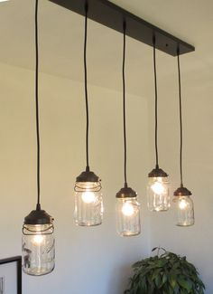 Vintage Canning Jar CHANDELIER FIVE Light by L&Goods on Etsy & Action Lighting Futura Pendant 4 Light | Action Lights and Interiors azcodes.com
