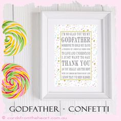 A4 Gift Godmother Godfather Godparents Goddaughter Godson Godchild Baptism BABY